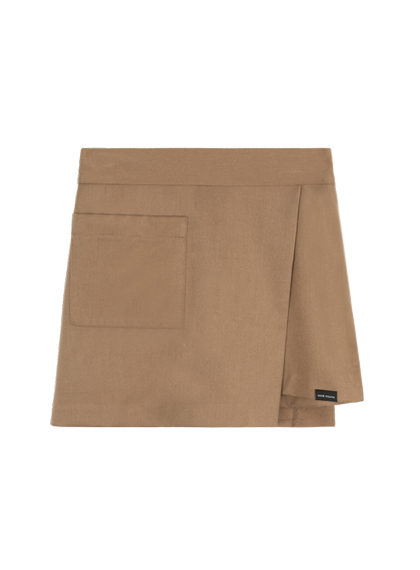 Pocket Wrap Skirt Pants (Dark beige)