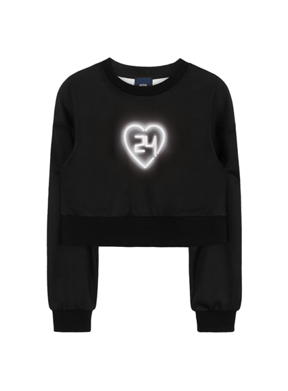 24h Neon Heart Sweat Shirt (White)