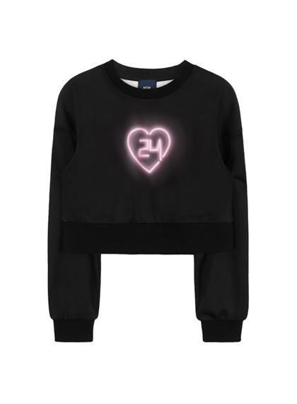 24h Neon Heart Sweat Shirt (Pink)