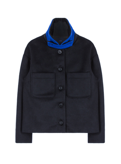 Color Collar Crop Coat (Navy&Blue)