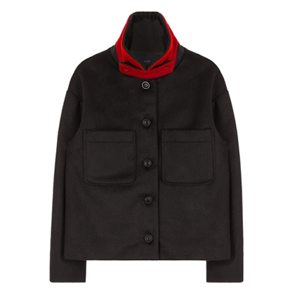 Color Collar Crop Coat (Black&Red)