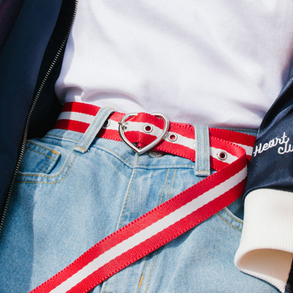Heart Buckle Belt(Red)