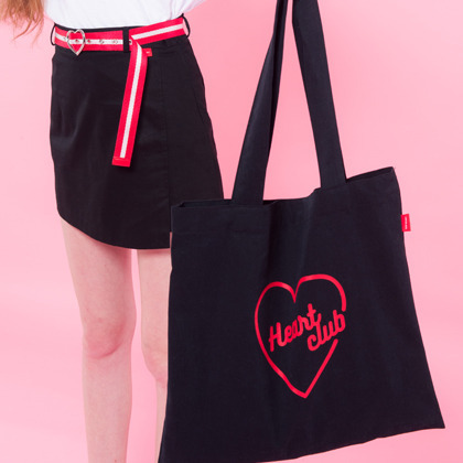 Heart eco bag(Black)
