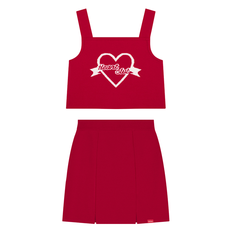 Heart Logo Bustier  Heart Slit Skirt (Red) 세트상품