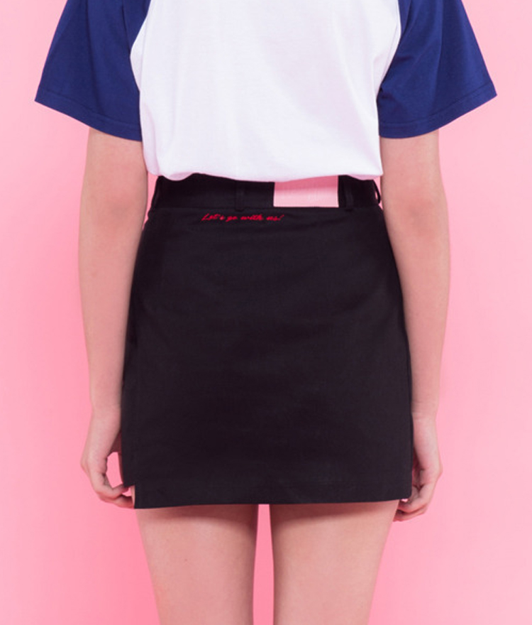 Heart unbalance skirt pants(Black)