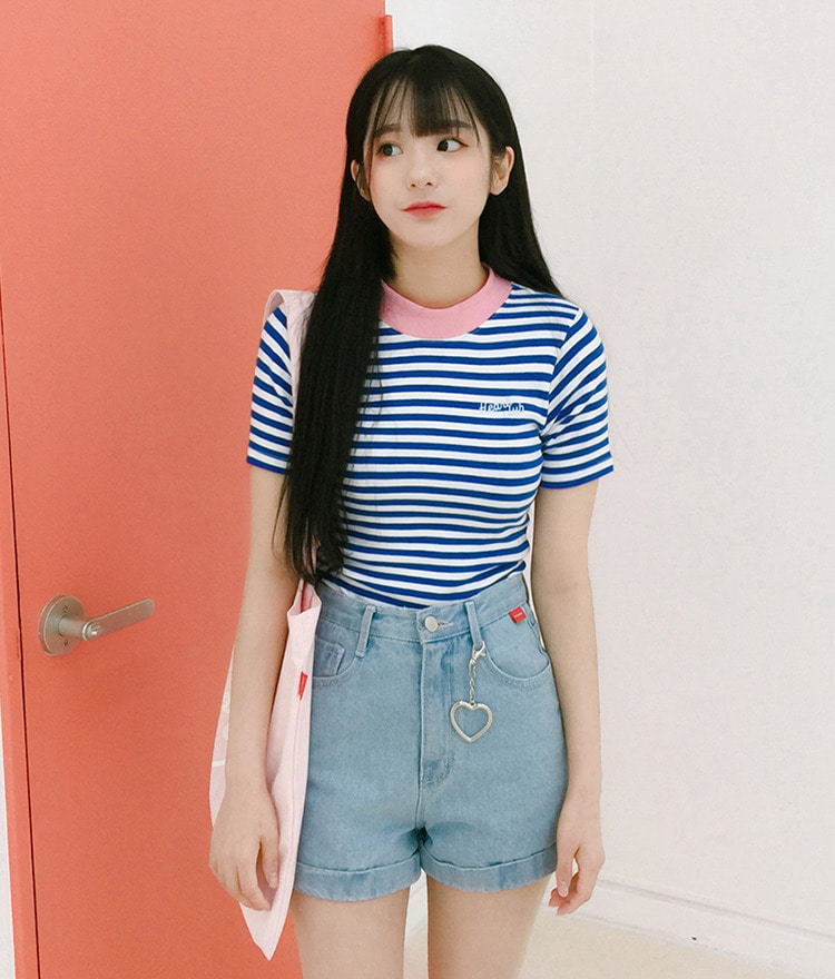 Heart Stripe High Neck Top