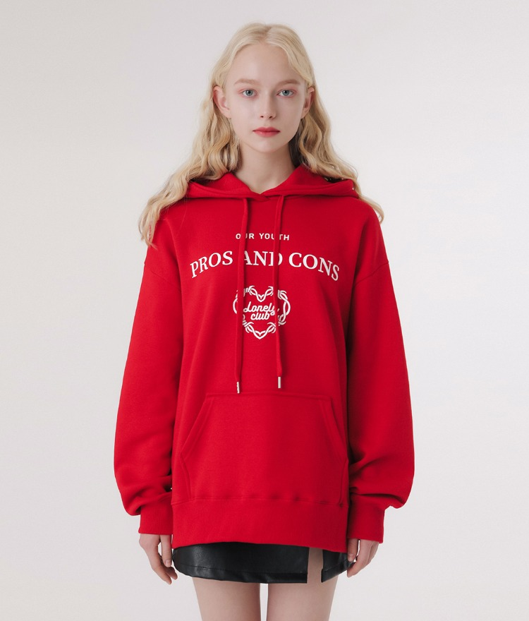 Lonely Layout Logo Hoodie (Red)