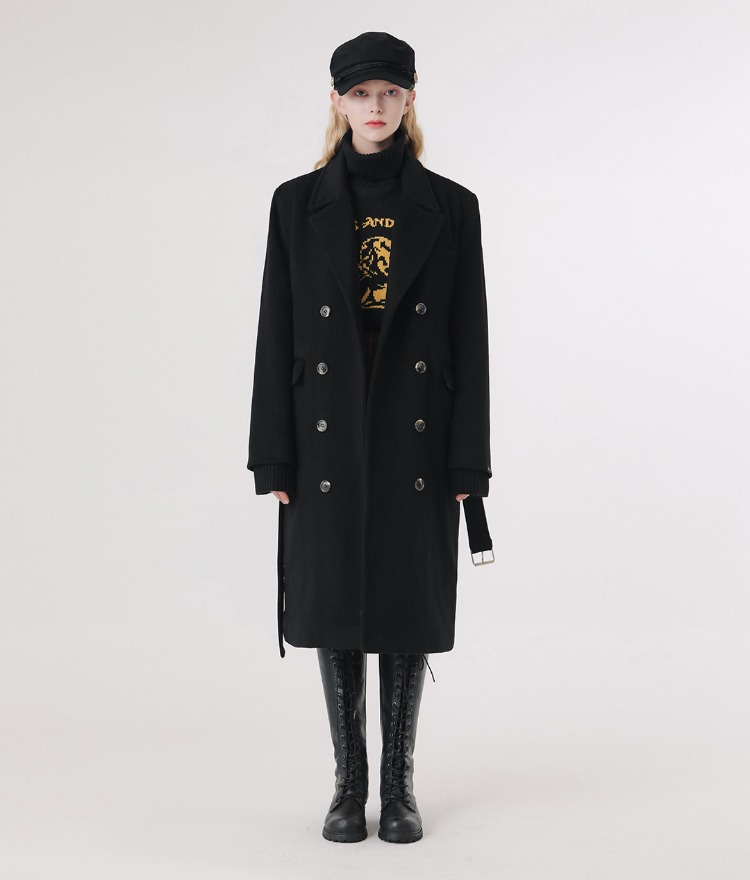 Lonely Belt Wool Coat (Black)
