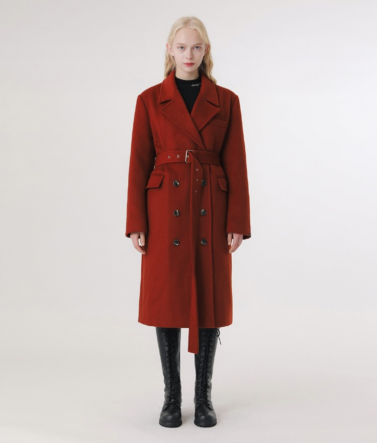 Lonely Belt Wool Coat (Brick Red)