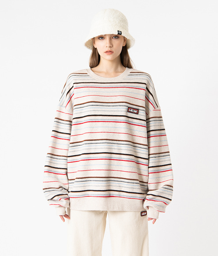 HIDE Future Stripe Sweat Shirt (Ivory)