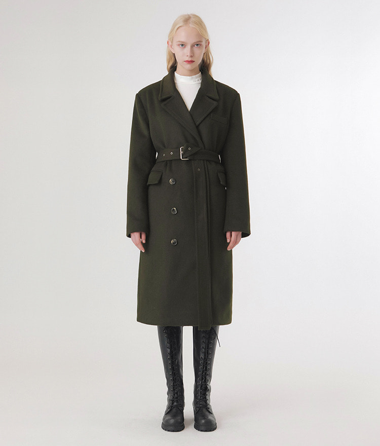 Lonely Belt Wool Coat (Khaki)