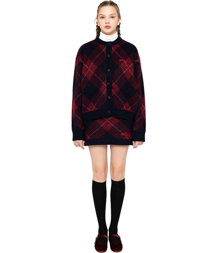 Heart Check Knit Cardigan (Wine)Heart Check Knit Skirt (Wine)SET