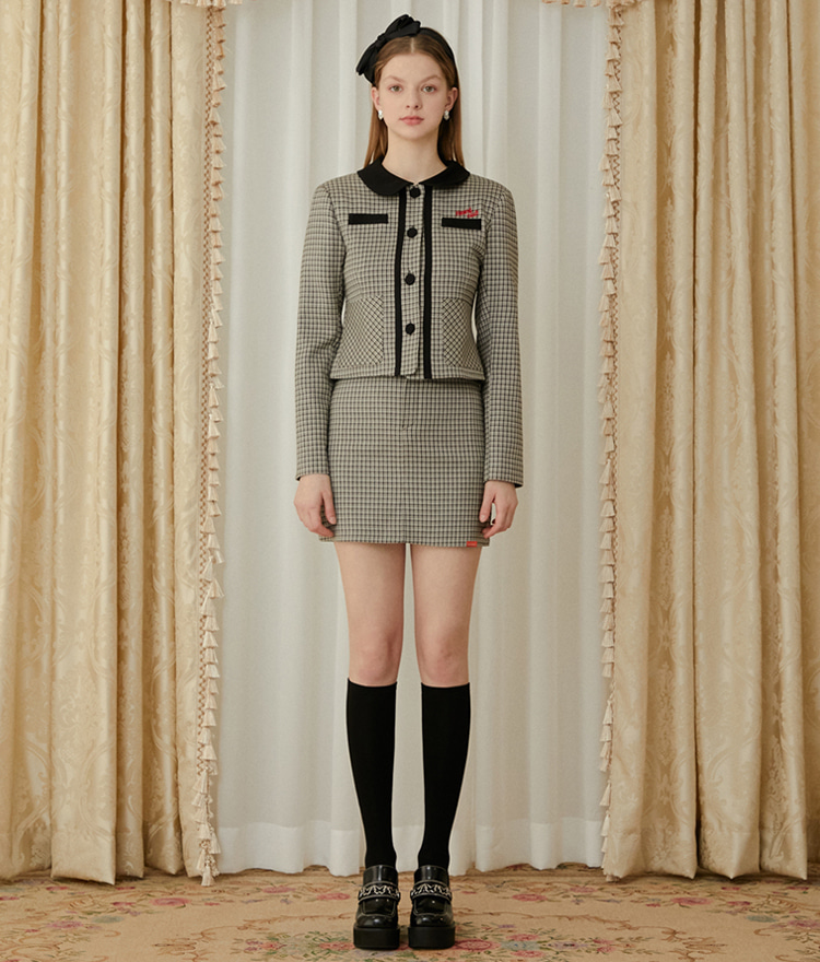 Heart Check Jacket (Beige)Heart Check Skirt (Beige)SET