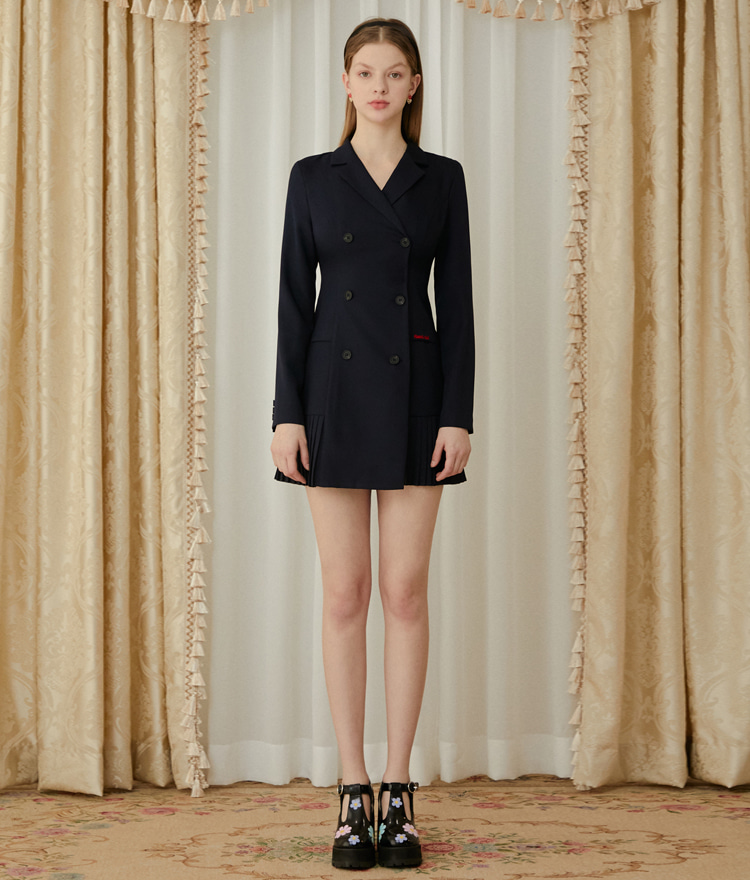 Heart Pleats Jacket Dress (Deep Navy)