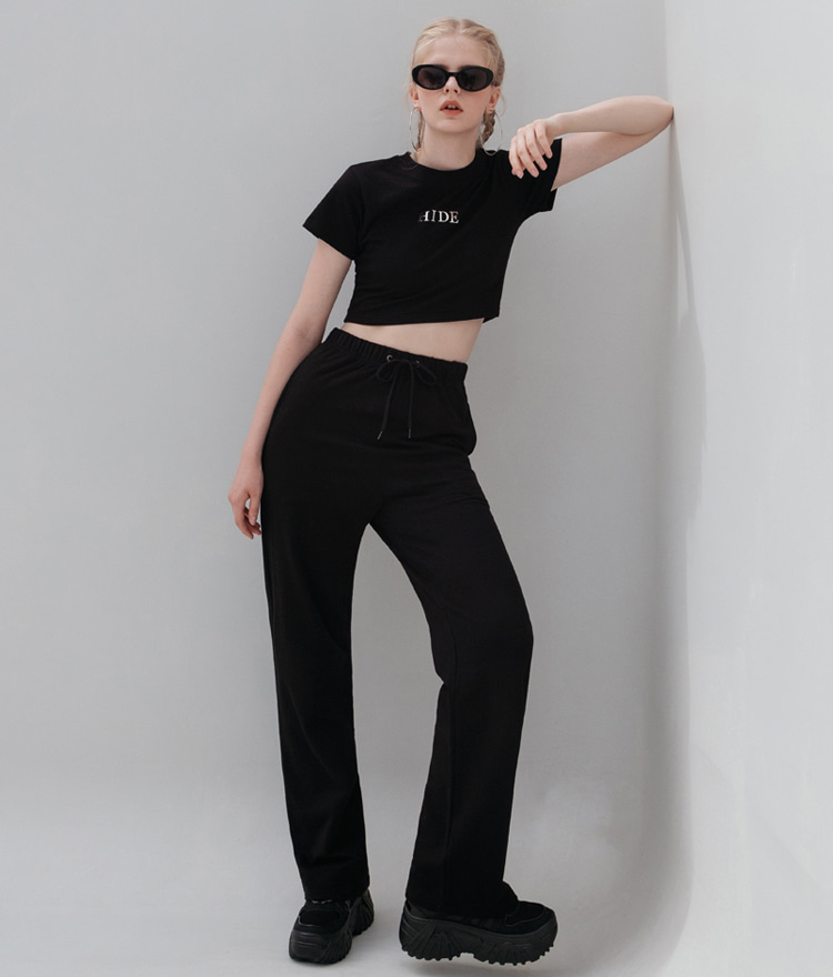 HIDE Mirror Crop Top (Black)HIDE Mirror Wide Pants (Black)SET