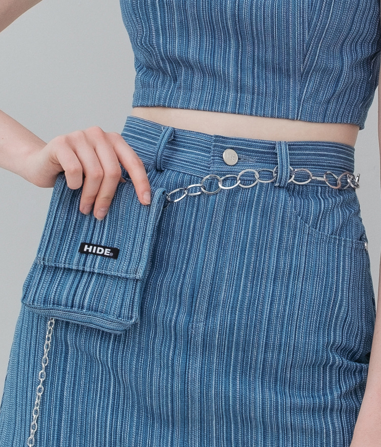 HIDE Stripe Denim Belt Bag (Blue)