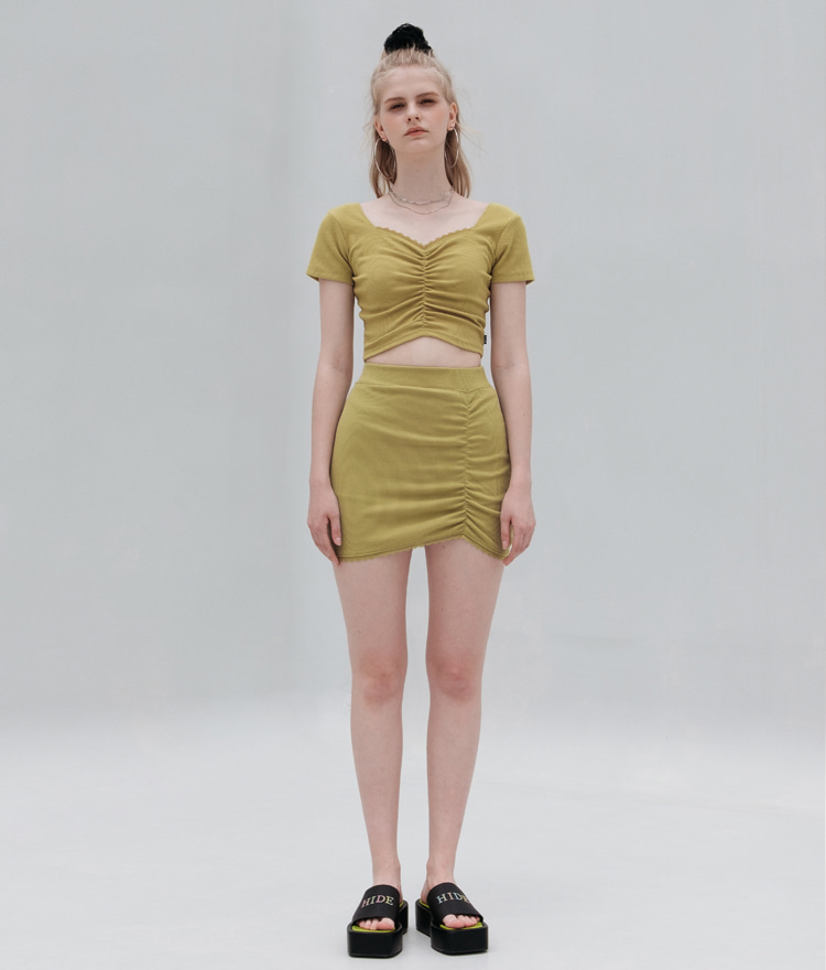 HIDE Lace Crop Top (1/2) (Olive)HIDE Lace Skirt (Olive)SET