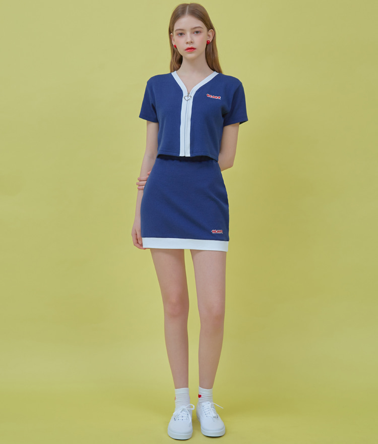 Heart Coloration Zip Up Top (Navy)Heart Coloration Skirt (Navy)SET