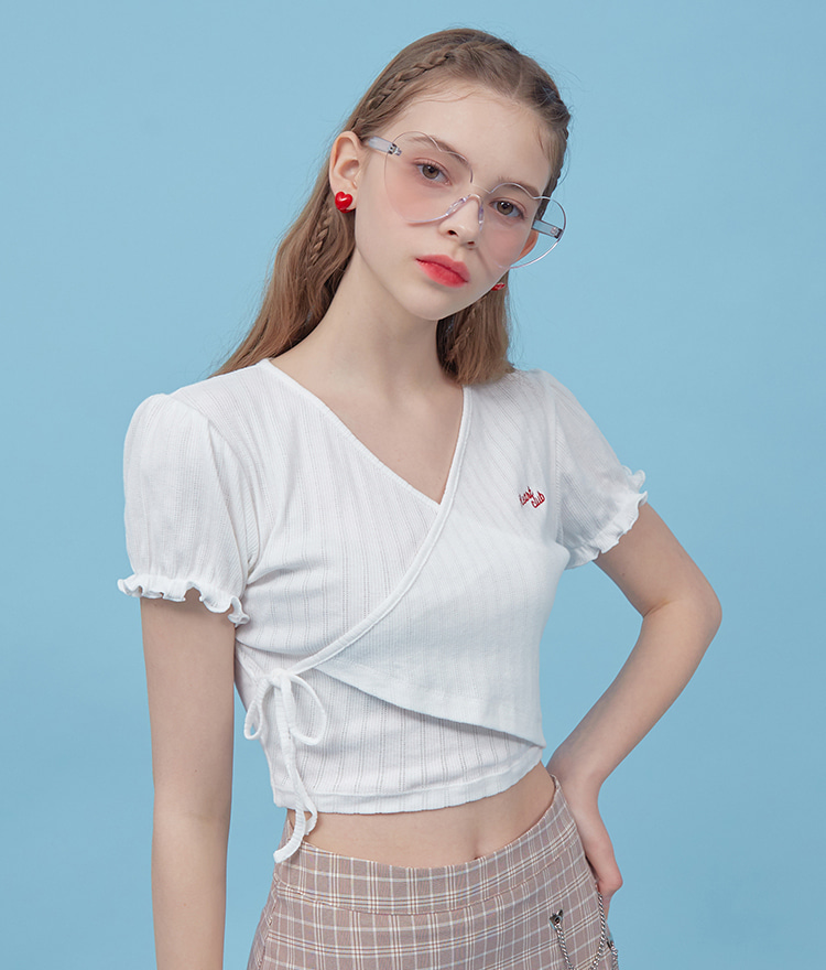Heart Wrap Crop Top (Ivory)