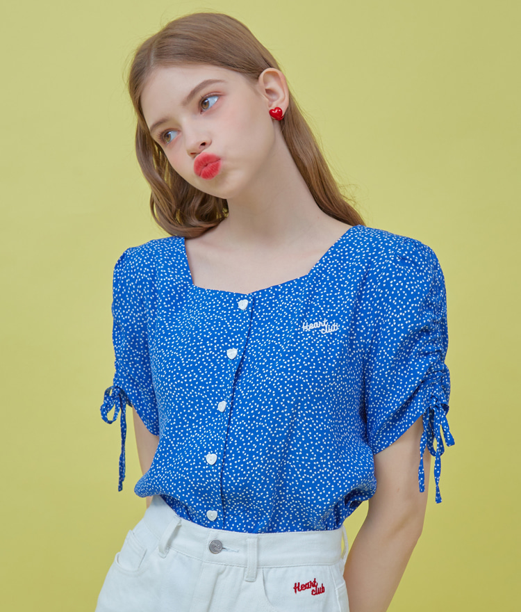 Heart Shirring Blouse (Blue)