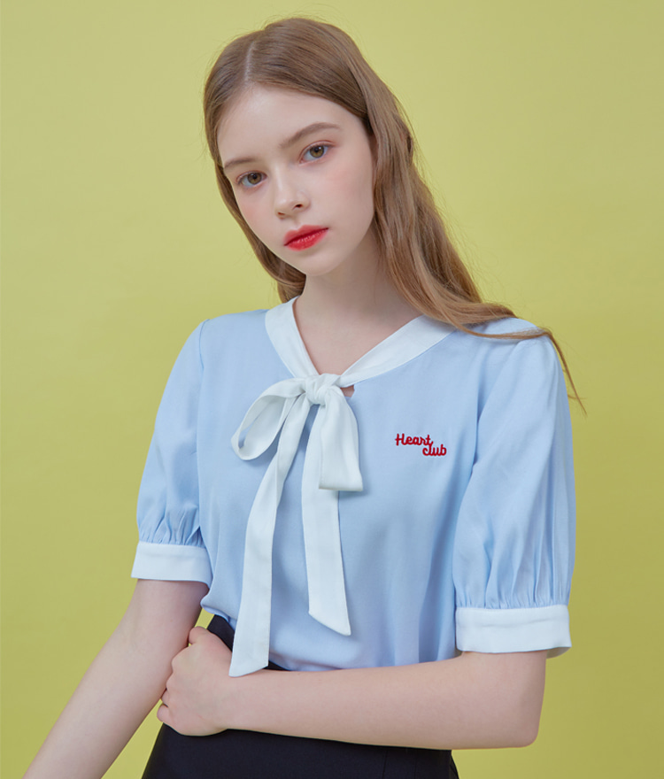 Heart Logo Ribbon Blouse (Sky Blue)