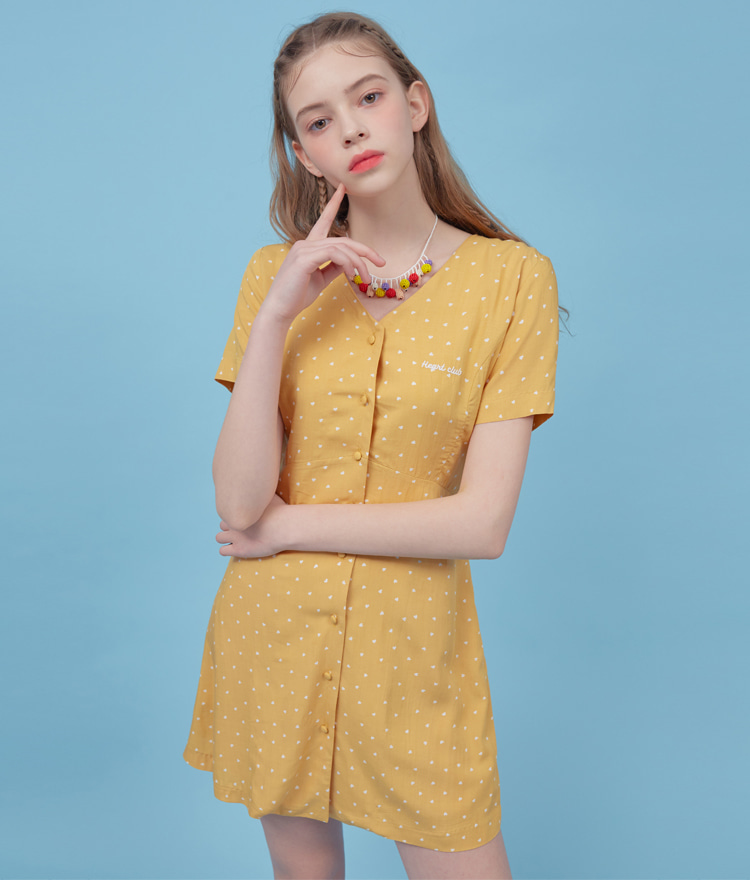 Heart Lace Up Mini Dress (Yellow)