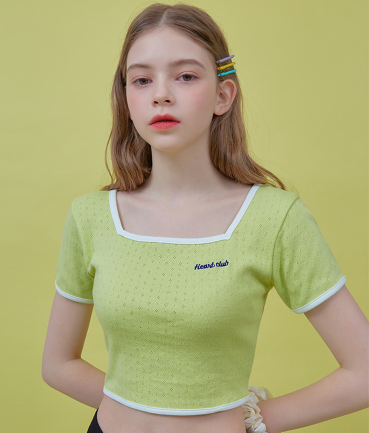 Heart Square Neck Top (Lime)
