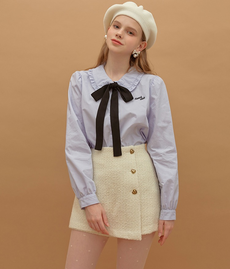 Heart Ribbon Frill Blouse (Light Blue)