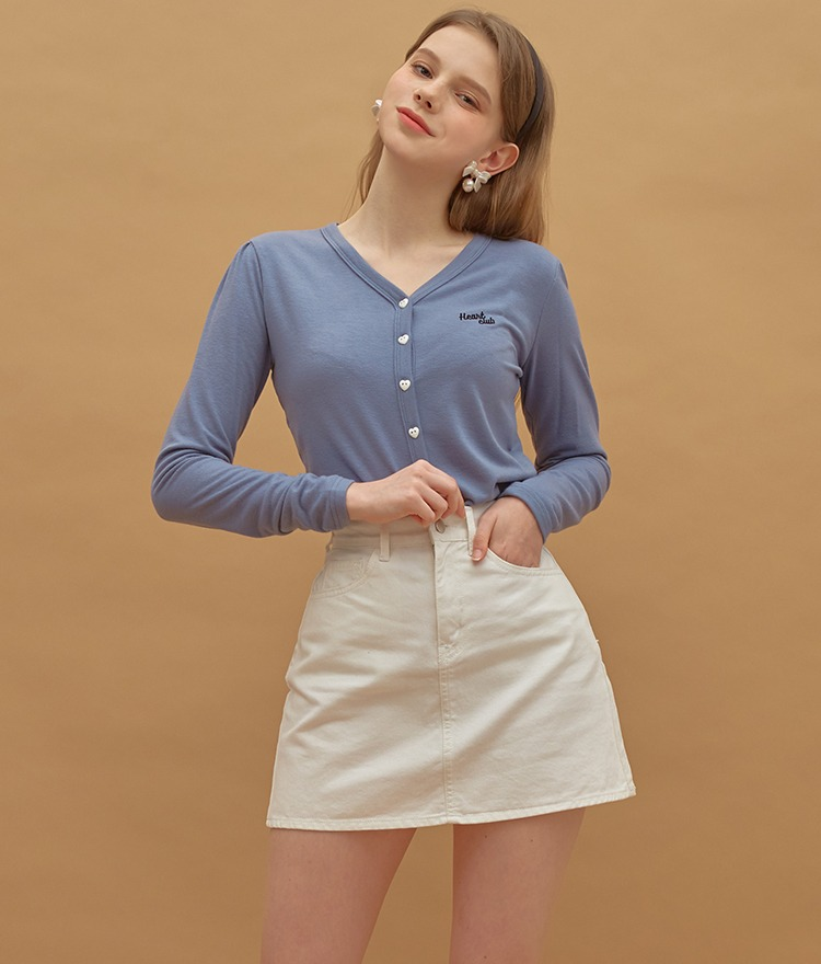 Heart Button Point Top (Indi Blue)