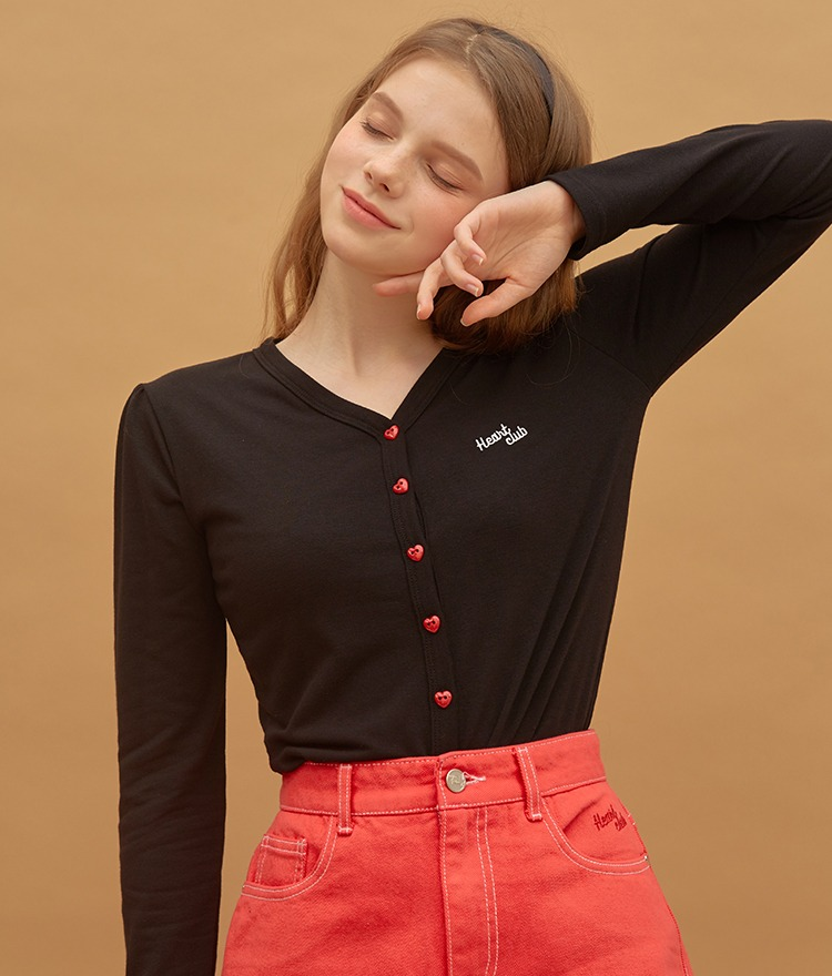 Heart Button Point Top (Black)
