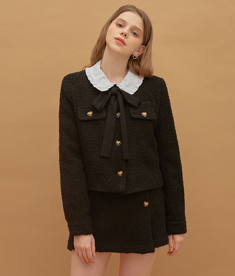 Heart Tweed Jacket (Black)