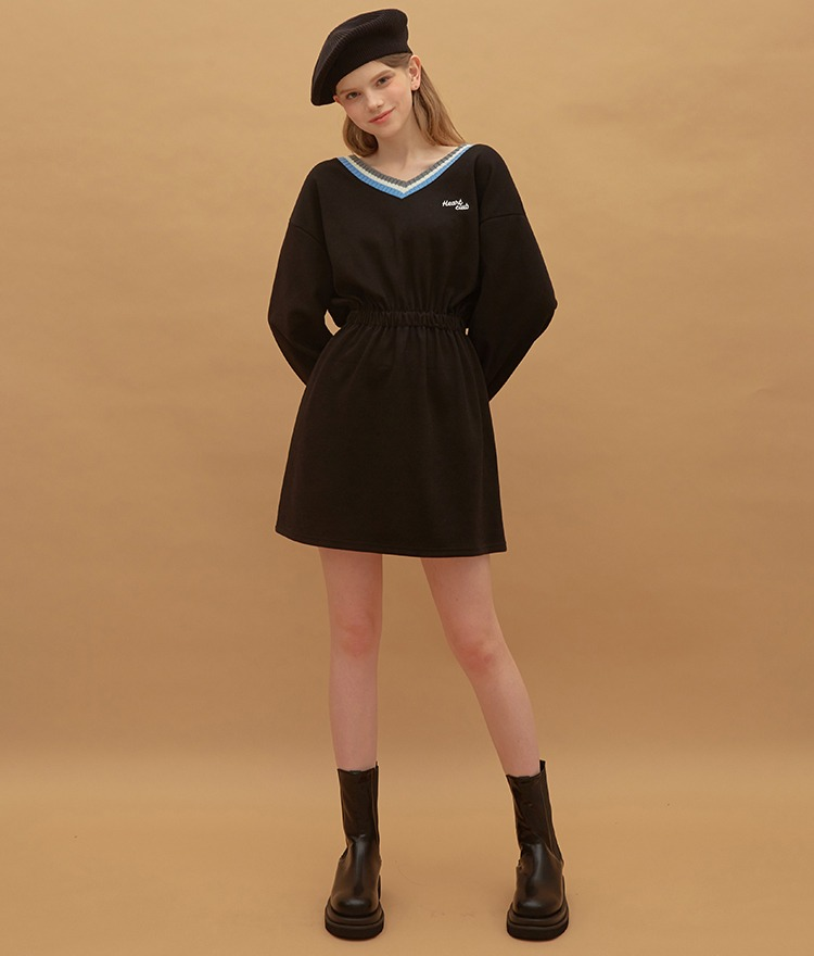 Heart V-neck Jersey Dress (Black)