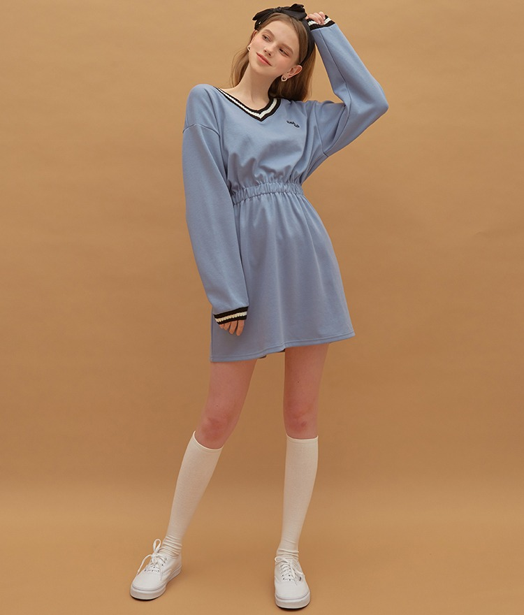 Heart V-neck Jersey Dress (Indi Blue)