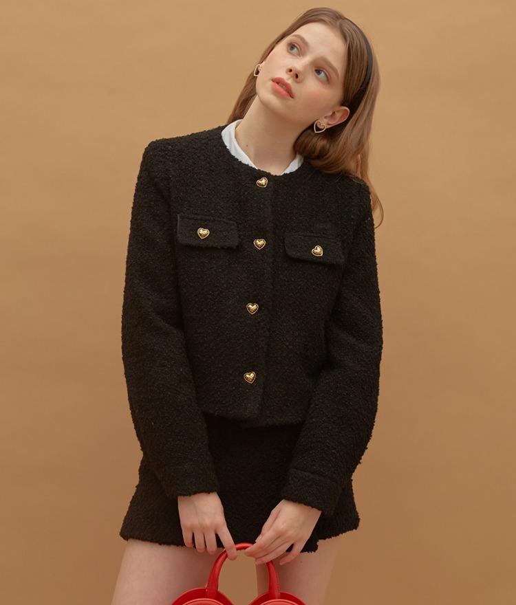 Heart Tweed Jacket (Black)Heart Tweed Skirt (Black)SET