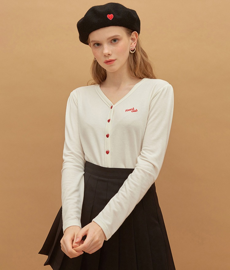 Heart Button Point Top (Ivory)