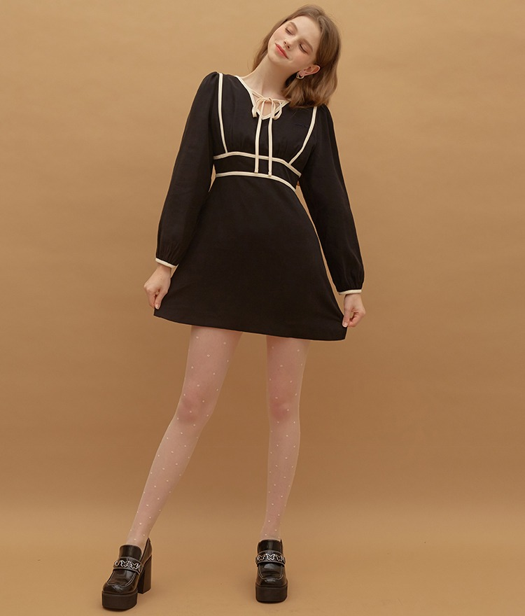 Heart Line Ribbon Dress (Black)