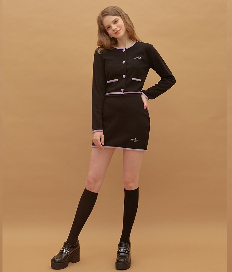 Heart Coloration Button Top (Black)Heart Coloration Band Skirt (Black)SET