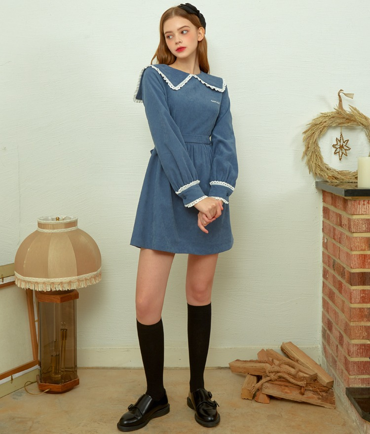 Heart Lace Big Collar Dress (Indi Blue)