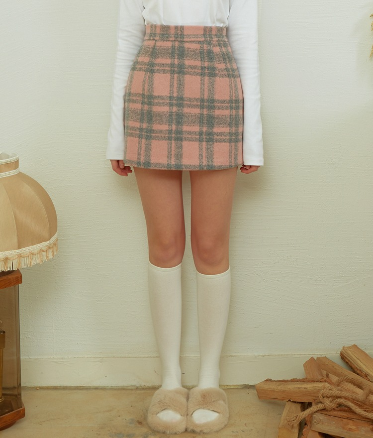 Heart Check Mini Skirt (Pink)