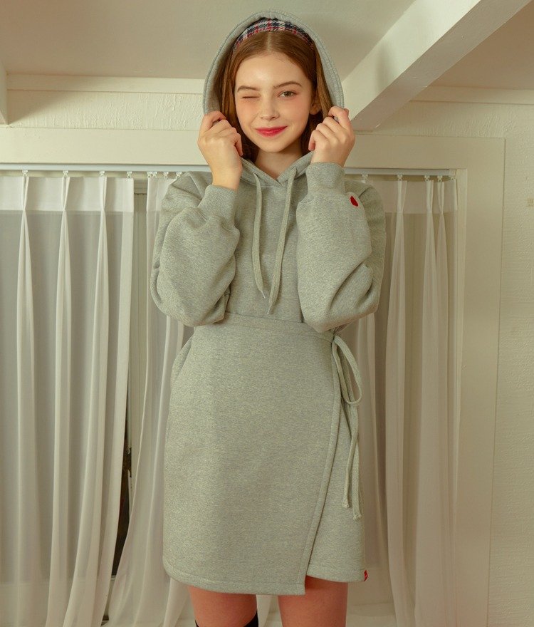 Heart Hoodie Wrap Dress (Grey)