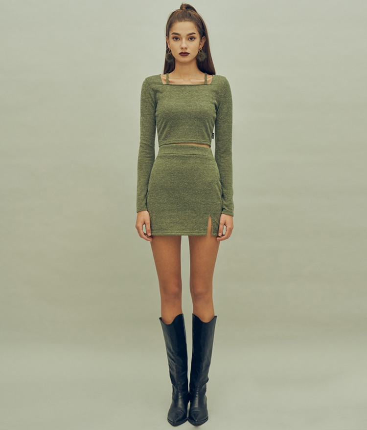 HIDE Strap Top (Olive)HIDE Slit Skirt (Olive)SET