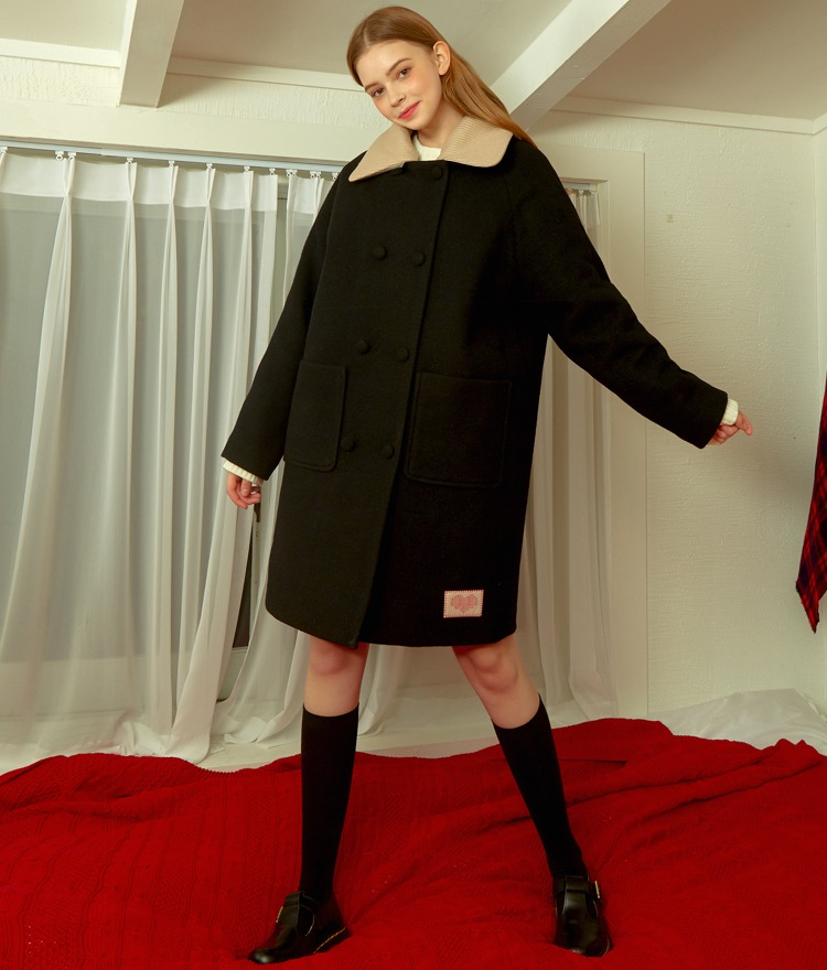 Heart Knit Collar Wool Coat (Black)