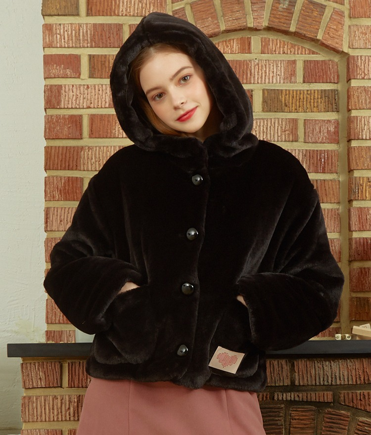 Heart Fur Hoodie Jacket (Black)