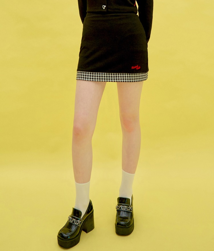 Heart Check Skirt (Black)