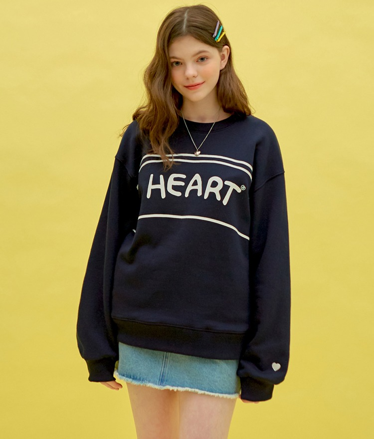 Heart Line Drawing Sweat Shirt (Navy)
