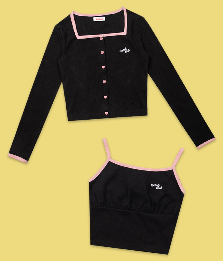 Heart Square Button Cardigan (Black)Heart Shirring Sleeveless Top (Black)SET