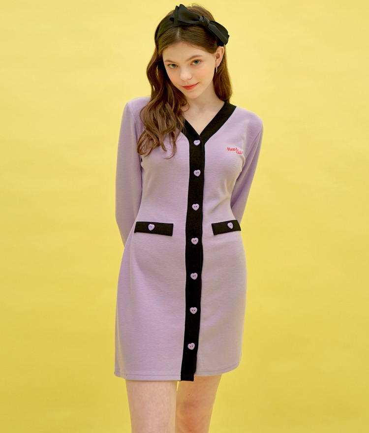 Heart Button Coloration Dress (Light Purple)