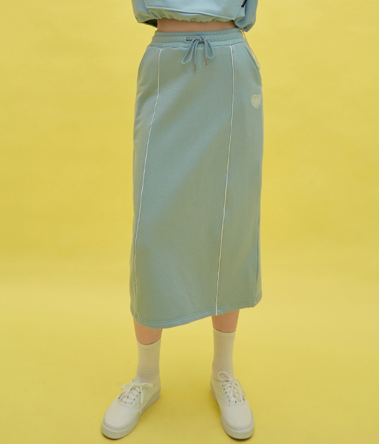 Heart Piping Long Skirt (Sky Blue)