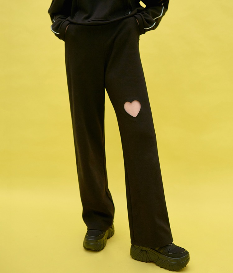 Heart Cut Out Wide Pants (Black)
