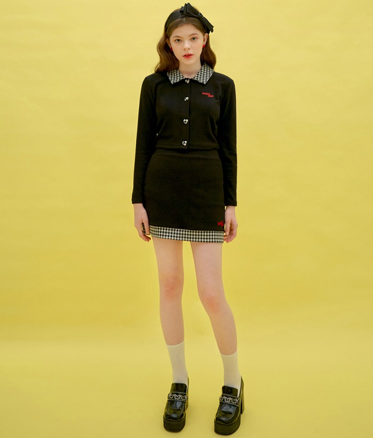 Heart Check Collar Top (Black)Heart Check Skirt (Black)SET